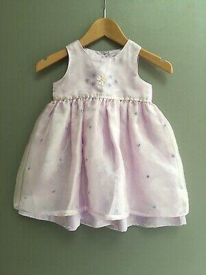 Baby Girls Party Dress NEXT Age 6 - 9 Months Lilac Star Button Back Satin Purple