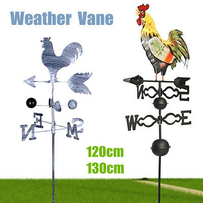 120/130cm Height Iron Rooster Chicken Weathervane Roof Mount Wind Garden Decor
