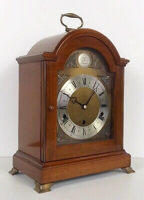 Elliott Mahogany Cased Mantle Clock Westminster,Whttington Chimes Night Silent