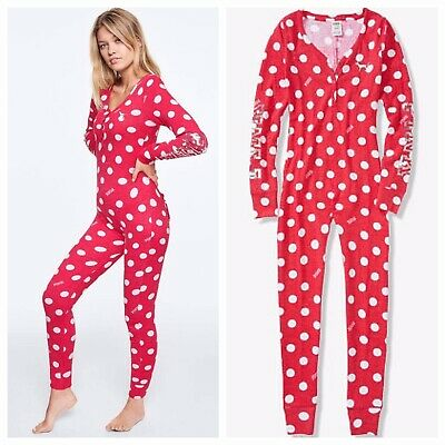 Vs Victorias Secret Pink One Piece Pajama Bling Cozy Sleep Pin Up Red Dots S
