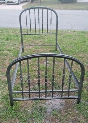 Antique Iron Powder-coated Twin Bed with rails Excellent Shape
