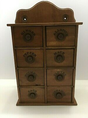 Antique Hanging 8 Drawer Wood Spice Cabinet Box Herb Cabinet