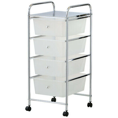 White Plastic Storage 4 Drawer with Metal Trolley Shelf and Slide-Out Drawers