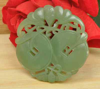 Natural color of hetian jade fine carving two hollow out bats figure l pendant
