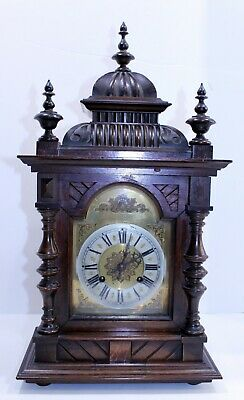 Rare Hand Made Large Carved Wood Cathedral Style Chiming Mantel Clock