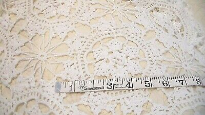 "Beautiful Vintage Hand-Crocheted Cotton Table Cloth Topper Doily 58""X64"" White"