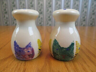 Cat Cats Salt & Pepper Shakers Set Artisan COZ Multi-Color Hand-painted Ceramic