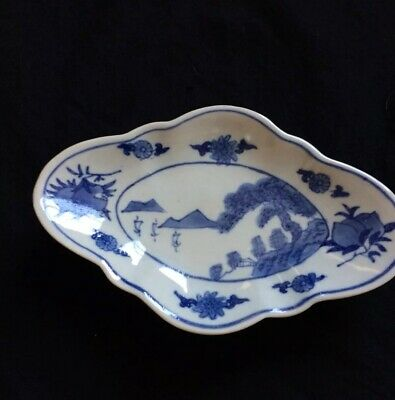 Antique Chinese Export Porcelain Footed Dish,Hand Painted Blue/White,Rare Shape
