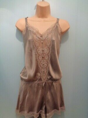 J10 Vtg Rosie Autograph M&S Silk Lace Teddy Camiknicker Playsuit 12 Nwot