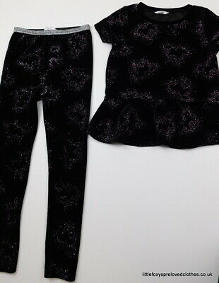 7-8 year M&Co girls black velour set outfit sparkly top trousers horses