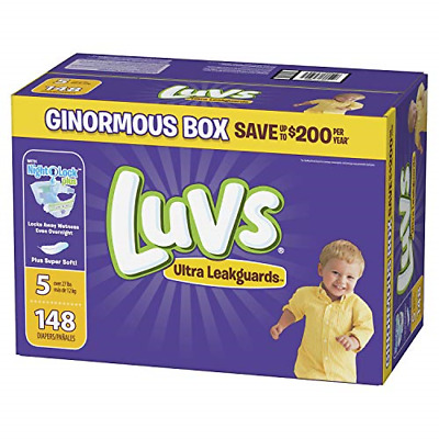 Diapers Size 5, 148 Count - Luvs Triple Leakguards Disposable Baby Diapers, ONE
