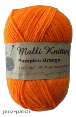 Malli 8ply Acrylic Knitting Crochet Yarn 100g - Pumpkin Orange Machine Wash