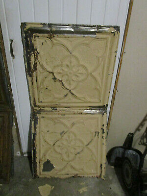 "ANTIQUE METAL TIN CEILING TILE #103, 48"" X 24"" Project Grade"