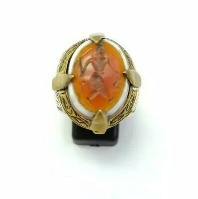 Sterling Silver Antique Roman Seal Genuine Banded Agate Intaglio Unique Ring 9US