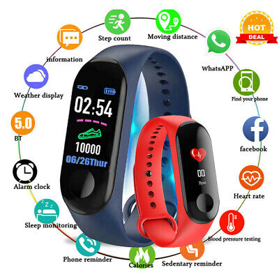 M3 Plus Smart Watch Heart Rate Fitness Blood Pressure Bluetooth Bracelet Band BE
