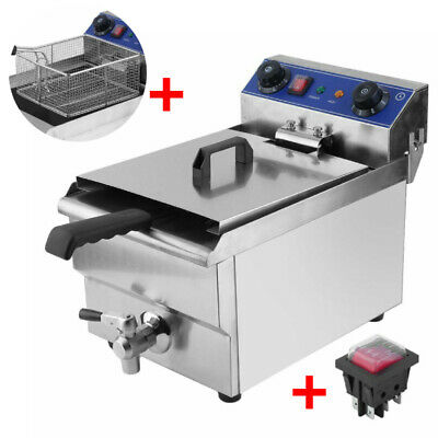 Commercial Restaurant Electric 13L Deep Fryer Stainless Steel + Timer Drain +Net