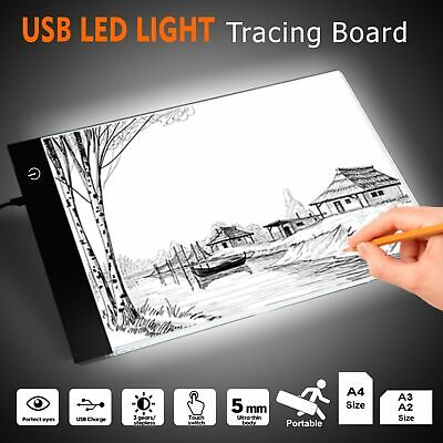 A4 A3 A2 LED Light Box Tracing Board Art Design Stencil Tattoo Copy Drawing Pad