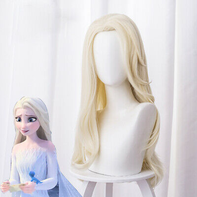 2019 Movie Frozen 2 Princess Elsa Cosplay Wigs Ice Queen Yellow Wavy Party Hairs