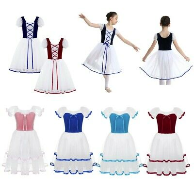Kid Girls Princess Ballet Dance Leotards Lyrical Long Mesh Tutu Dress Gymnastics
