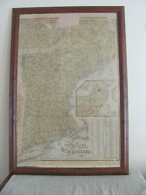 1896 New England Map Chase and Ritter Post Office, Township, County and Railroad