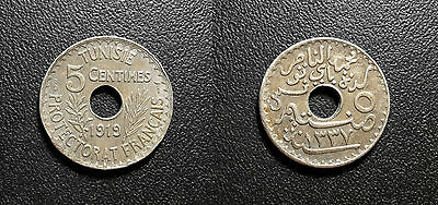 Tunisia - Protectorate French - Muhammad Al-Nasir Bey - 5 Cents 1919 km#242