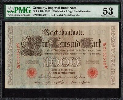 1910 Imperial Germany 1000 Mark Banknote PMG 53 About Uncirculated