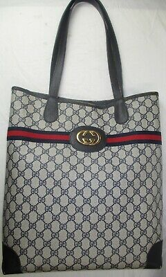 GUCCI Vintage Webby Monogram Canvas Tote Handbag Navy Blue AUTHENTIC!
