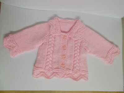 Hand Knitted Baby Cardigan Hand Knitted Baby Jacket Aran Pink 0-3 months