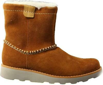 Clarks Crown Piper Tan Suede Leather Junior Girls Warm Ankle Boots