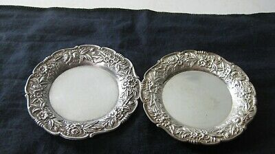 S. Kirk & Son Sterling Silver Repousse set of 2 Butter Pat Dishes, # 17F,