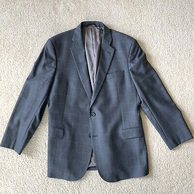 Brooks Brothers Regent Fit Grey Windowpane Sports Jacket Men Size 46R Wool EUC