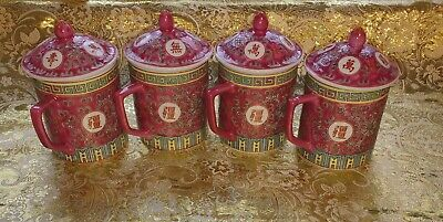 chinese  mug with lid pink Longevity Mun Shou hand painted set of 4