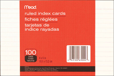 "Mead Index Cards 4""X6"" 100/Pkg-Ruled White"