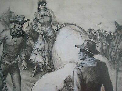 Original 1940s Western Pulp Illustration Art -  ' Saved By The Cavalry '..signed
