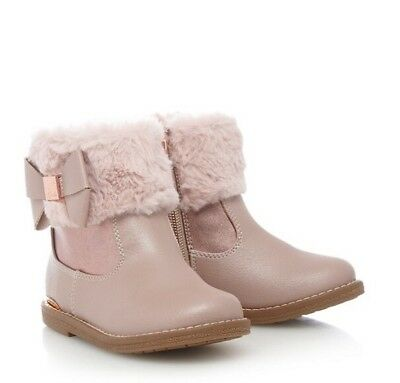Ted Baker - Girls' pink faux fur cuff ankle boots BNWT Infant 11 Sale