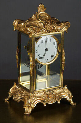 R-39 Gilded Fireplace Clock, Rokokodekor Sign Ansonia New York 19. Century