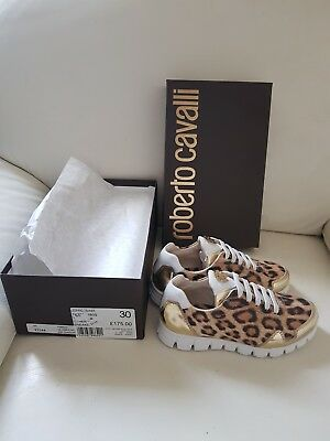 ROBERTO CAVALLI Girl's Leopard Print Trainers / Shoes. Size 30. Rrp £175.00