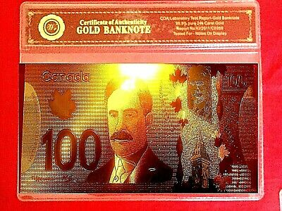 Canada $100 Dollar Banknote Coloured 24K Gold Note In Coa Sleeve