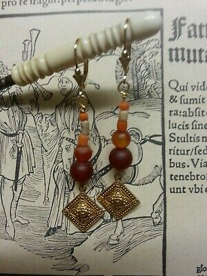 Roman beads EARRINGS medieval garnet, carnelian, coral  re-enactment film  14K