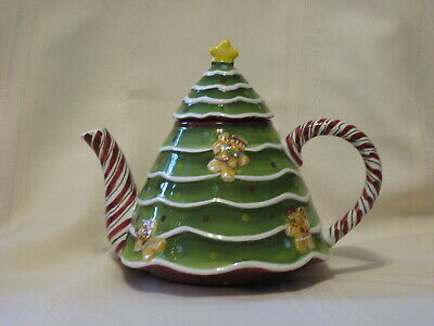 """Laurie Gates Holiday Treats Christmas Tree, Candy Canes, Gingerbread Tea Pot 7"""""""