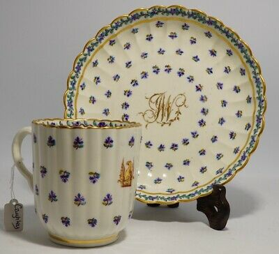 Caughley ribbed coffee cup & saucer, 'JW' and pheonix crest, c. 1785
