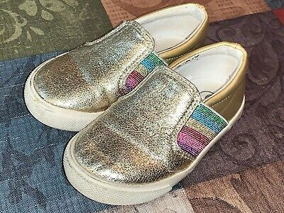 Cat & Jack Toddler Girls Size 6 Shoes Shiny Sparkle Gold Multi Color Rainbow