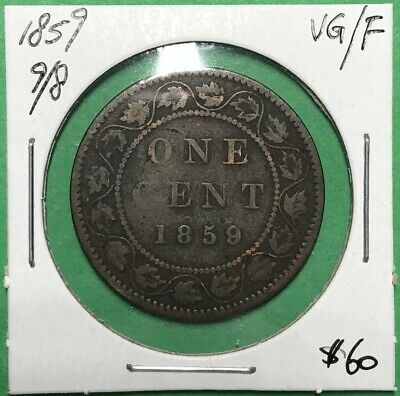 Canada 1859 Large One Cent Wide 9/8 VG/F
