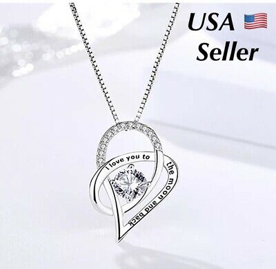 Valentines Day Gift I Love You To The Moon and Back Heart 925 Silver Necklace