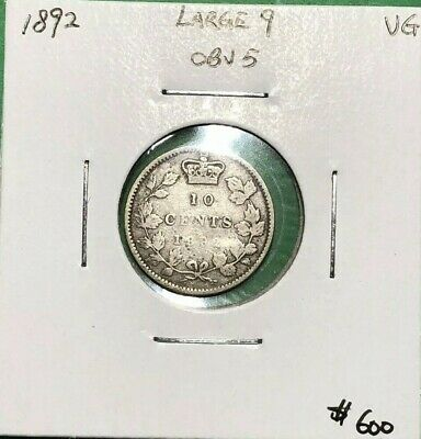 Canada 1892 Silver Dime 10 Cents Large 9 Obverse 5