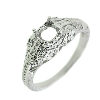 Art Deco Filigree Sterling Silver Semi Mount Ring Setting Round RD 5.5x5.5mm