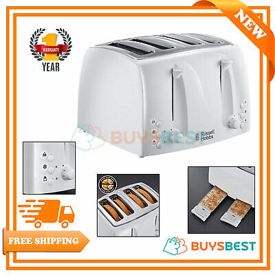 Russell Hobbs Textures 4-Slice Toaster, Stainless Steel White 21650
