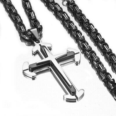 Trendy Stainless Steel Silver Black Cross Pendant Men's Necklace Byzantine Chain