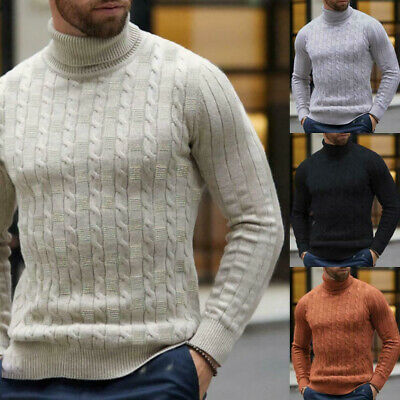 Mens Winter Warm Knitted Polo Jumper Roll Turtle Neck Pullover Casual Sweater