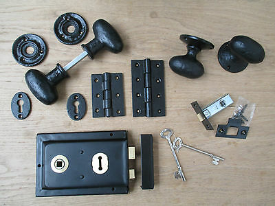 Traditional Old English Black Antique Cast Iron Door Furniture Hardware Fittings